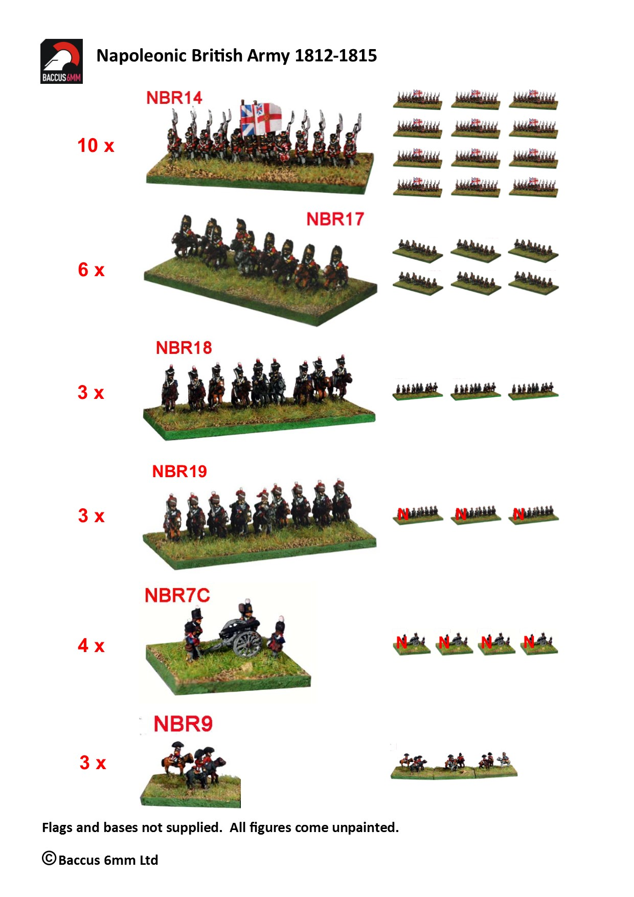 6mm Napoleonic British Infantry Baccus Booster Pack